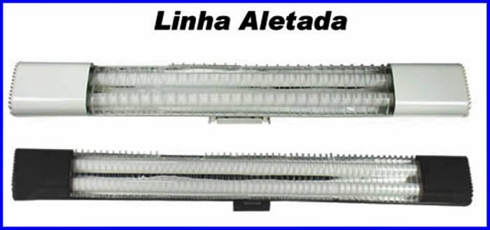 Luminaria de sobrepor aletada 2x40 completa bivolt - Luminaria fluorescente estanca ...
