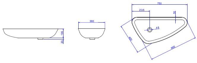 L1034  CUBA DE APOIO TRIANGULAR  Casa Faria Materiais Hidráulicos Ltda -> Cuba De Banheiro Triangular