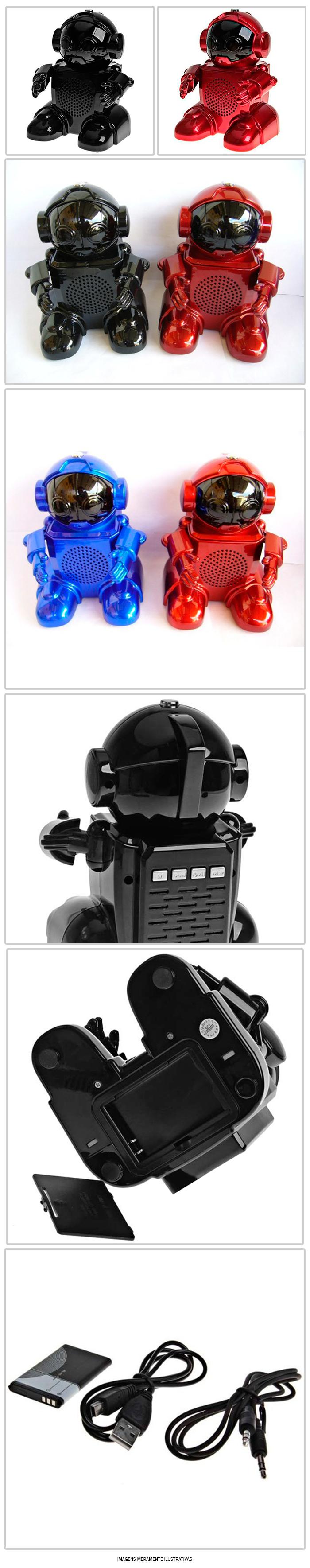CAIXA DE SOM USB ROBOT SPEAKER SD666