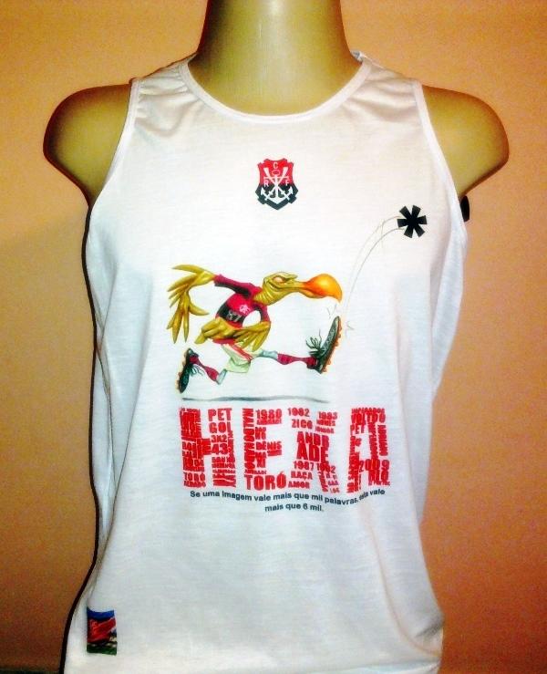 Camiseta Machão Poliéster com Algodão Hexa Fla Urubu