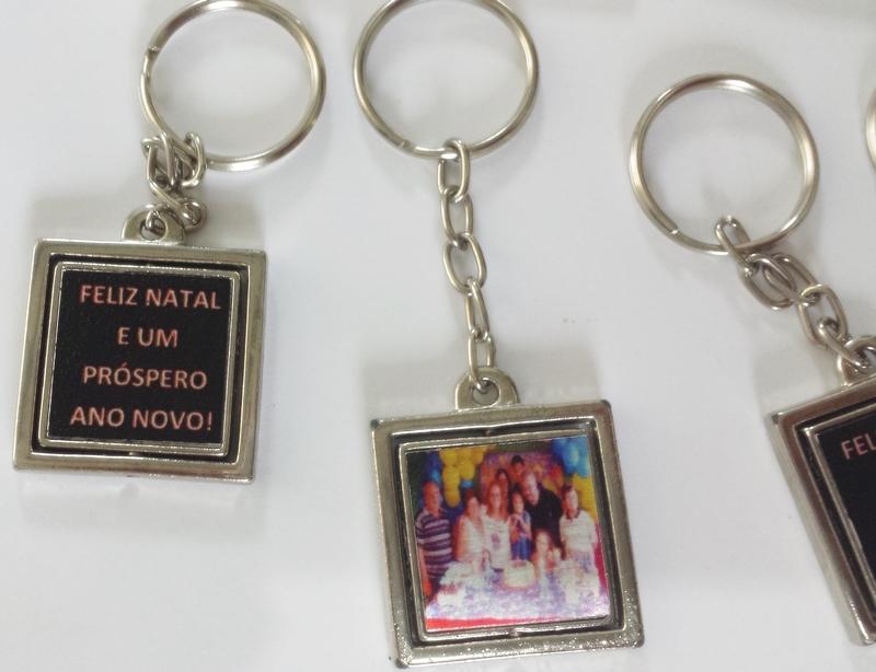 Chaveiro Giratório quadrado metálico duplo fotos