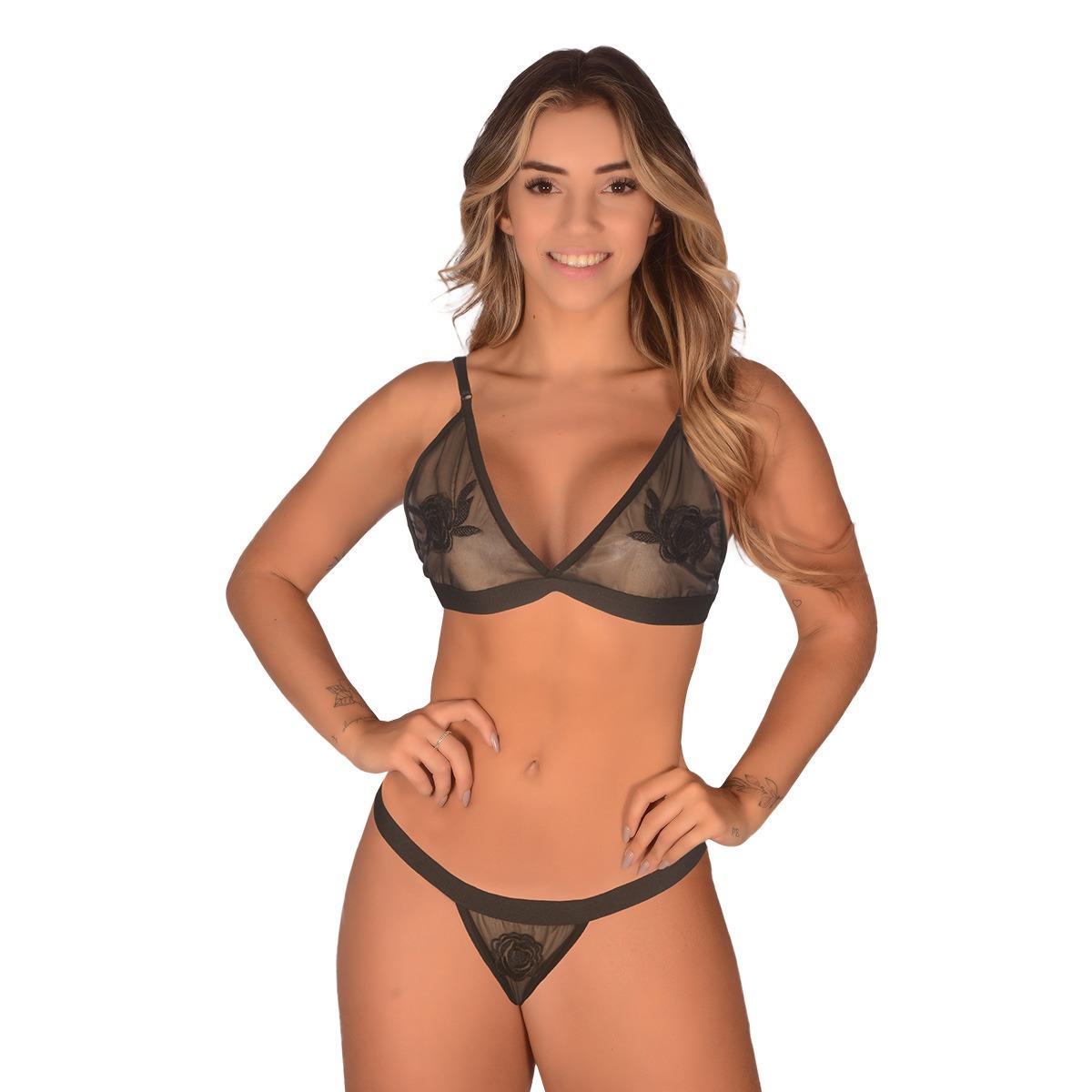 Conjunto Tule Flor Transparência Sexy Sensual Sutiã Calcinha Fio Dental Noite Romance Modinha Blogueira P M G Atacado