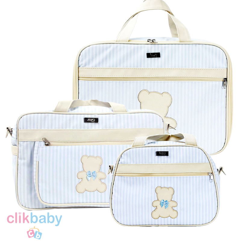 Kit 3 bolsas Maternidade Bear Hug - Azul