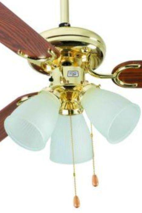 Ventilador de Teto 3 Pás - Home Line - HL 43 - Dourado - Lustre com 3 Tulipas de Vidro - 42 Pol