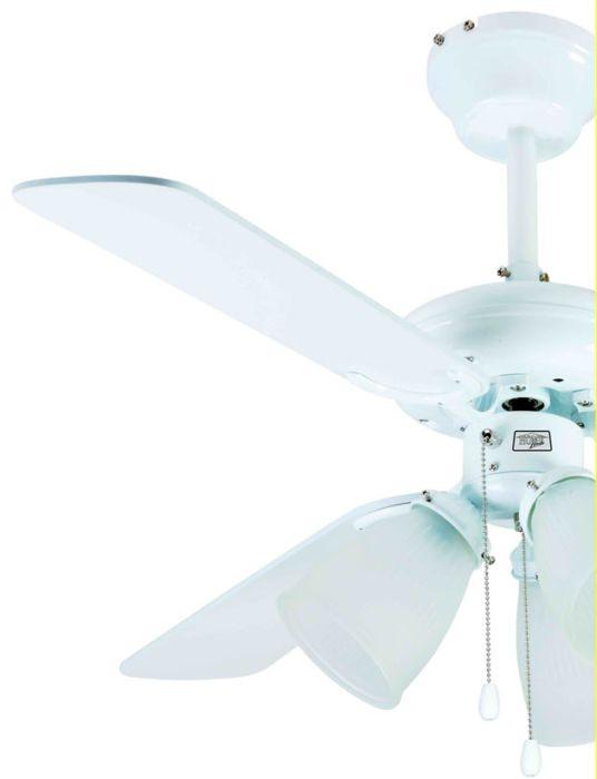 Ventilador de Teto 3 Pás - Home Line - HL 42 - Branco - Lustre com 3 Tulipas de Vidro - 42 Pol