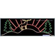 Painel de Natal PN-040 Iluminado - Rena ao Sol Poente - MED 4,50 X 1,40 MTS