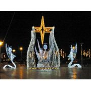 Figura Iluminada de Natal - Anjos com Estrela Coluna LED Glamour