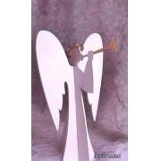 Anjo 3D Gigante com Trompete 2,20 x 1,60 metros Branco e Dourado - Decoração de Natal Dia e Noite - DF-108-DN