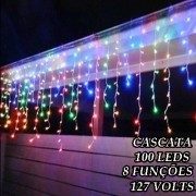 Cascata Colorida 100 LEDs com 8 Funções