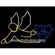 Figura de Natal Iluminada - Anjo Puxando Estrela