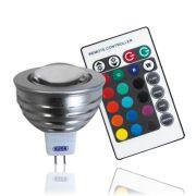 Lâmpada LED  3W MR16 com Controle Remoto 12V RGB