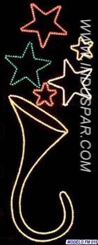 Figura de Natal Iluminada - Corneta e Estrelas