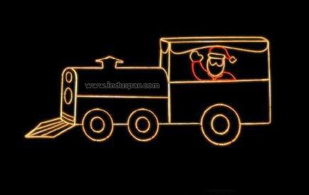 Figura de Natal Iluminada - MEDIA 065 - Papai Noel na Locomotiva