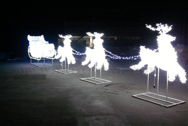 Treno com 3 Renas Decoração de Natal Gigante 3D Led GLAMOUR