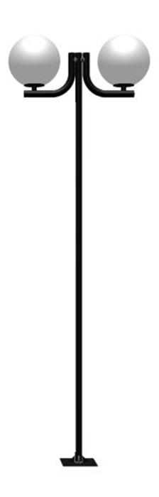 Poste de Jardim - Tubular Aço Curvo L 2 Globos 38cm - Tubo Ø 63mm