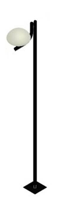 Poste de Jardim - Tubular Curvo L 1 Cogumelo Ø 53cm - Tubo Ø 63mm