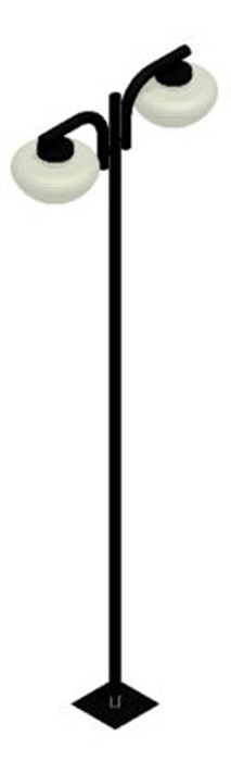Poste de Jardim - Tubular Curvo Pêndulo 2 Cogumelos - Diâmetro do Tubo 63mm