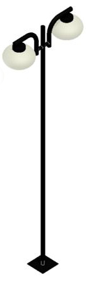 Poste de Jardim - Tubular Aço Pêndulo 2 Ovni - Diâmetro do Tubo 63mm