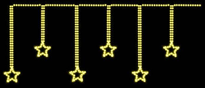 Cascata com 6 Estrelas de 30 cm x Alt 1 Mt - Mangueira Luminosa Led Branca 220V