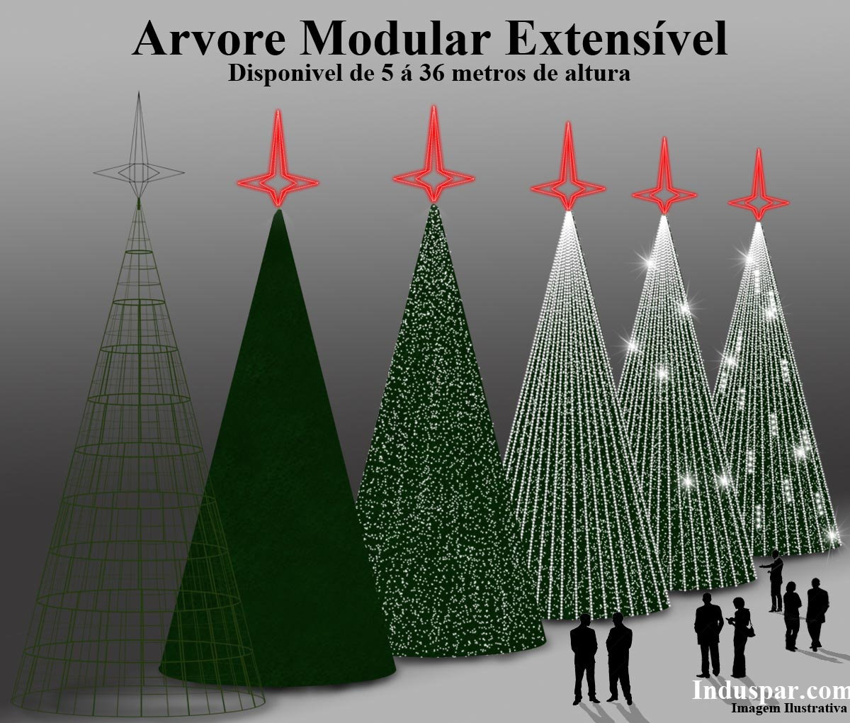 Árvore de Natal Gigante Glamour Led 13 Metros Completa - KIT FÁCIL