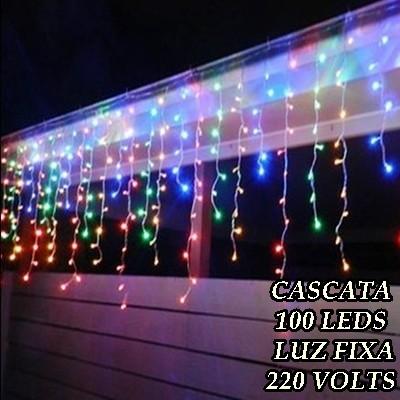 Cascata Colorida 100 LEDs Luz Fixa