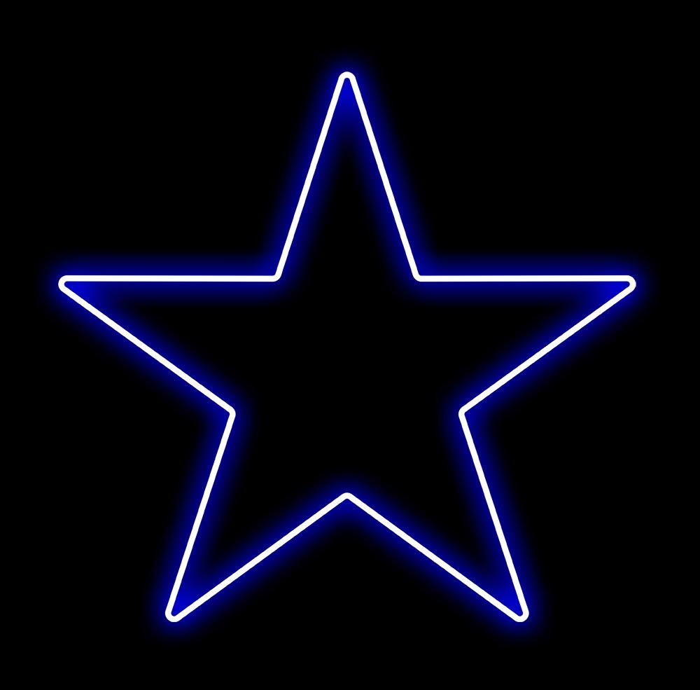 Estrela 5 Pontas Iluminada 30cm Azul LED 127V