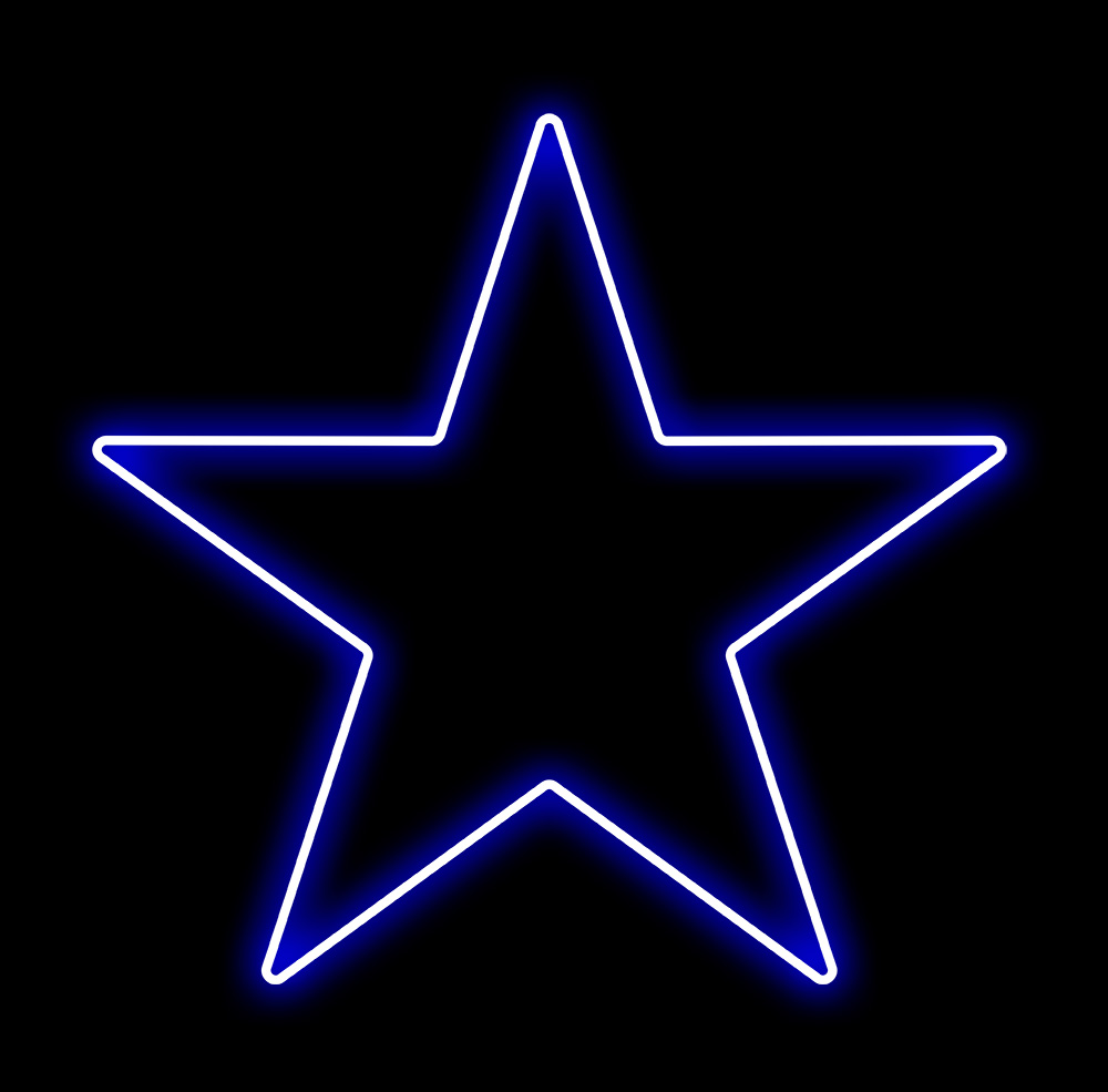Estrela 5 Pontas Iluminada 30cm Azul LED 220V