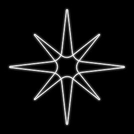 Estrela 8 Pontas - Med  50 x 50 cm - Branca Fria