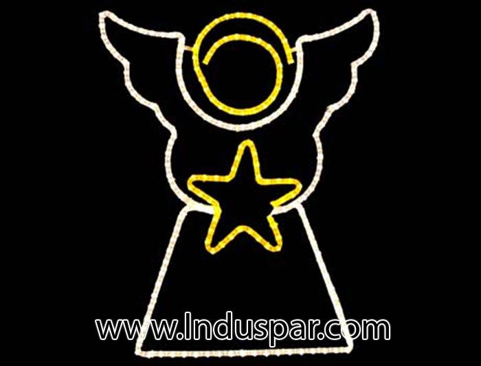 Figura de Natal Iluminada - Anjo com Estrelas