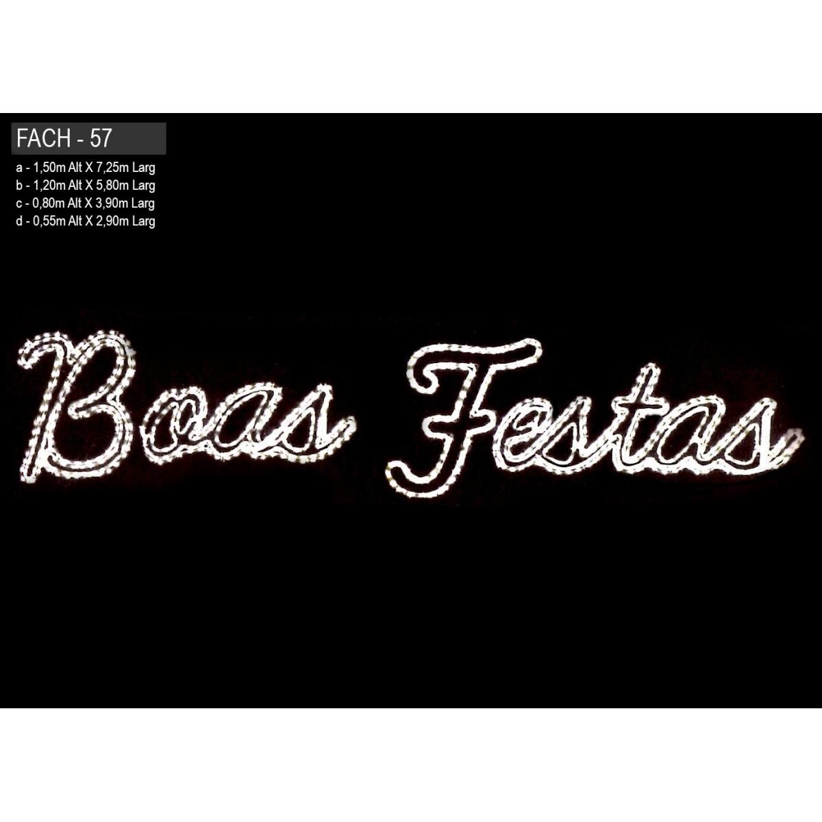 Painel de Natal PN-057-FE/B Iluminado Led - Boas Festa - MED 1,20 x 5,80 mts