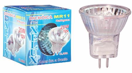 Lâmpada Mini Dicróica Halógena Bipino 10W - MR11 12V - Com Lente