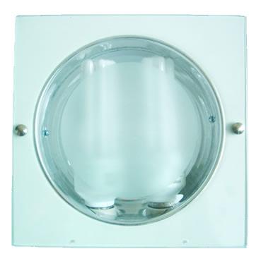 Luminária de Embutir p/ Lâmpada Fluorescente Compacta - 270 mm Diam c/ Vidro - JPC - Ref. 058