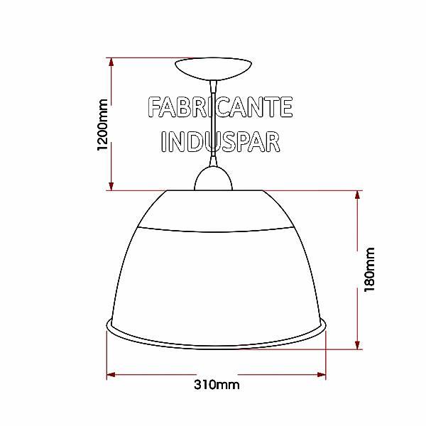 Luminária Prismática 12 Pol Pendente - Cupula Branca Leitosa