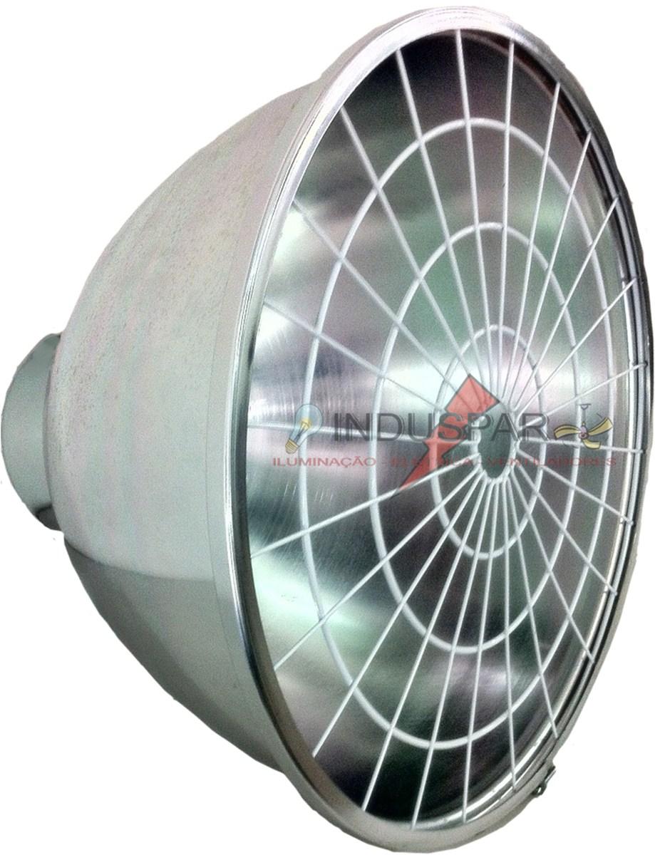 Luminária Prismática 16 Polegadas com Alojamento Taça e Difusor Aluminio com grade - E27