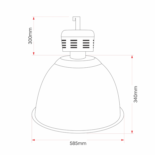 Luminária Prismática 22 Pol Industrial Taça Acrilica