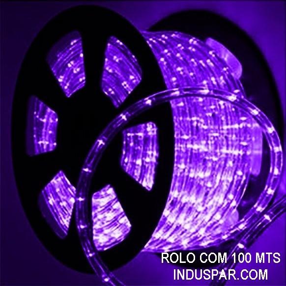 Mangueira Luminosa Roxa 220V LED - Corda de Natal 10 / 100 Metros