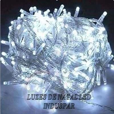 Pisca  - Pisca Branca Fria 100 LEDs 8 Funções - Fio Transparente