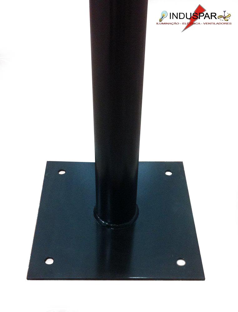 Poste de Jardim - Tubular Aço Curvo L 1 Globo 30cm - Tubo Ø 63mm