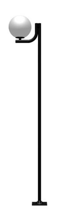 Poste de Jardim - Tubular Aço Curvo L 1 Globo 50cm - Tubo Ø 63mm