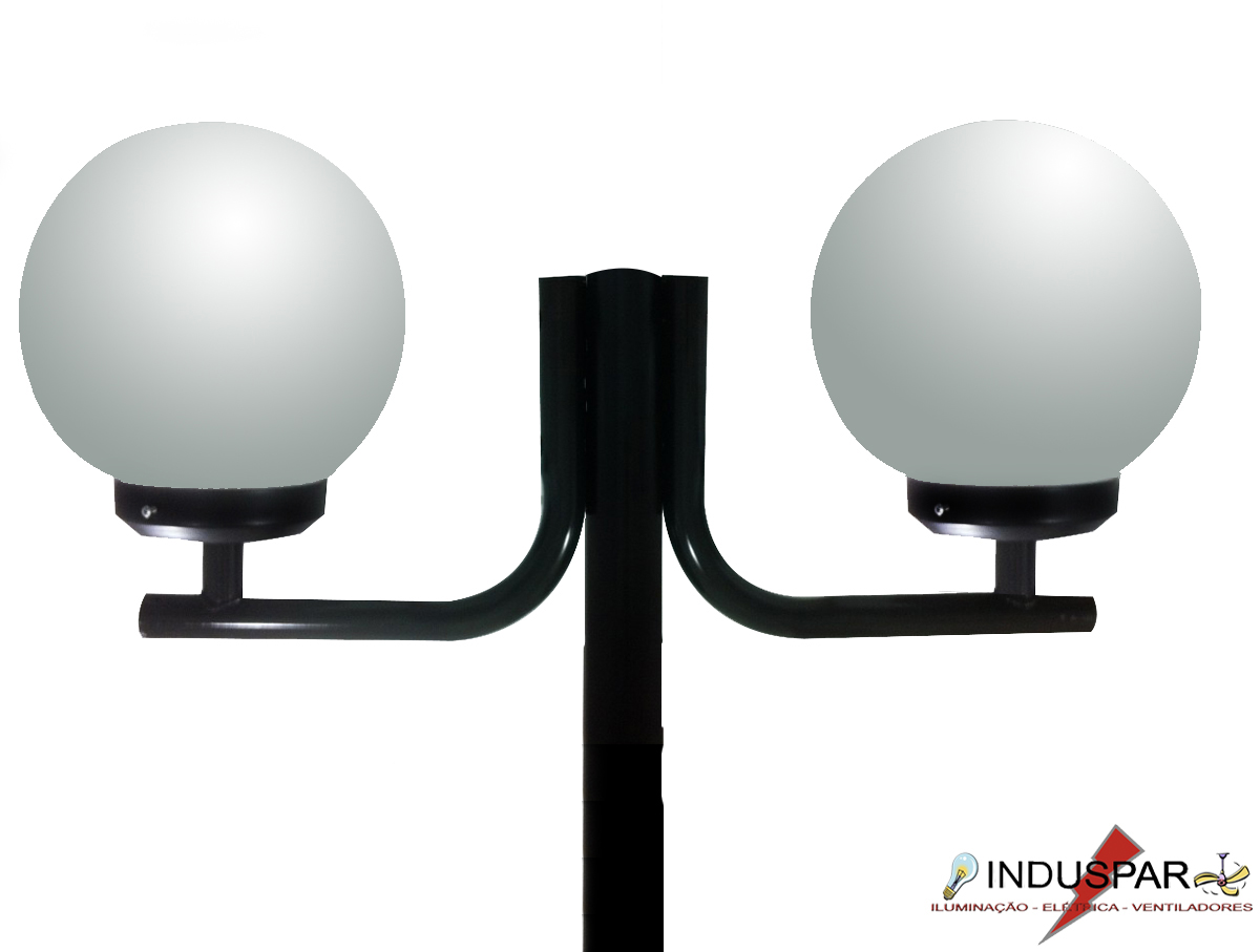 Poste de Jardim - Tubular Aço Curvo L 2 Globos 30cm - Tubo Ø 63mm