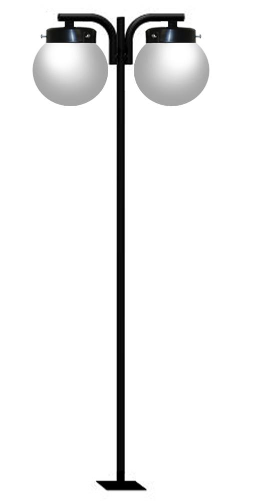 Poste de Jardim - Tubular Aço Pêndulo 2 Globos 38cm - Diâmetro do Tubo 63mm