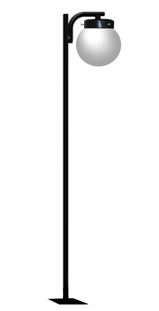 globo iluminacao jardim:Poste de Jardim – Tubular Pêndulo 1 Globo 38cm – Diâmetro do Tubo