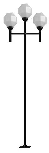 Poste de Jardim Reto 3 Globo Prismático de 32cm Tubo Ø 50mm