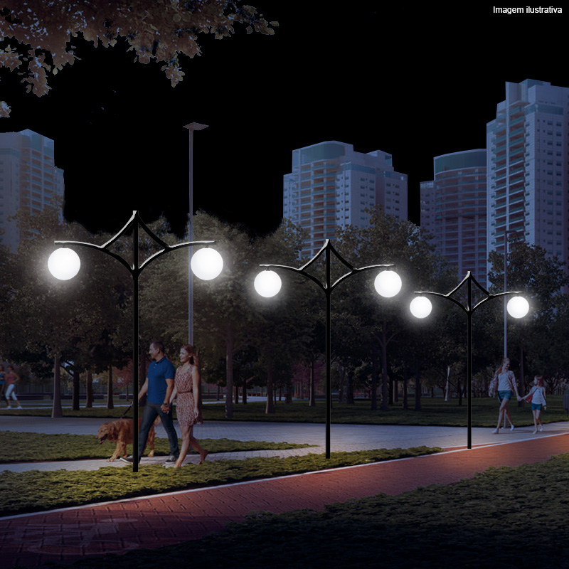 Poste de Jardim Ametista 2 luminárias