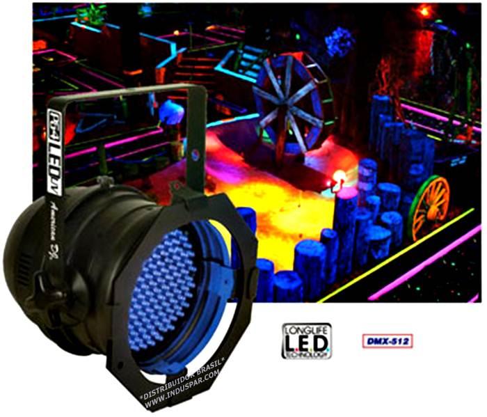 Canhão projetor PAR 64 LEDS Ultra violeta - AMERICAN DJ