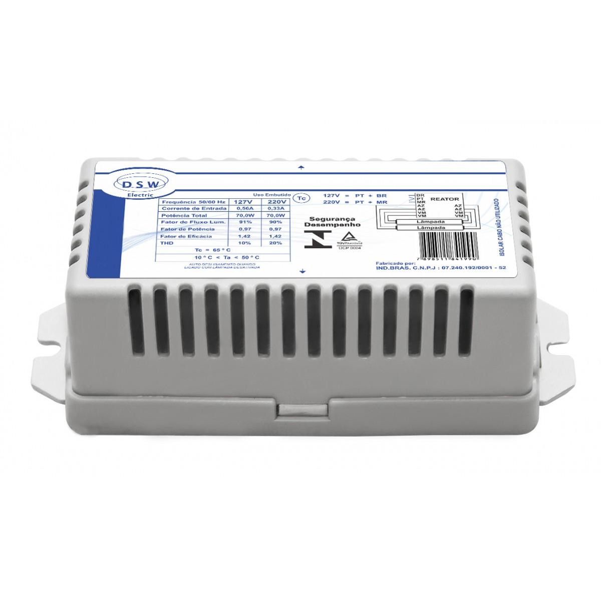 Reator Eletrônico 16W Bivolt para 2 Lâmpadas Fluorescente