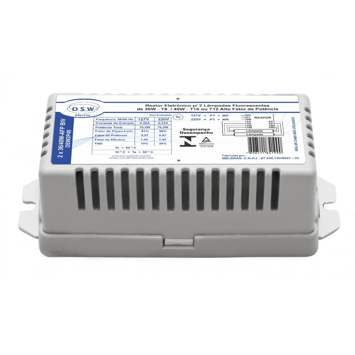 Reator Eletrônico 36W/40W Bivolt para 2 Lâmpadas Fluorescente