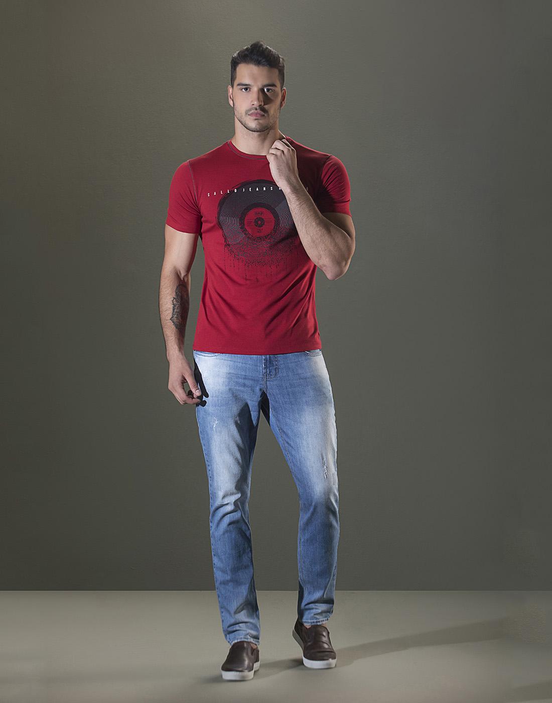 Camiseta Gola O. Estampada Vermelho Sallo