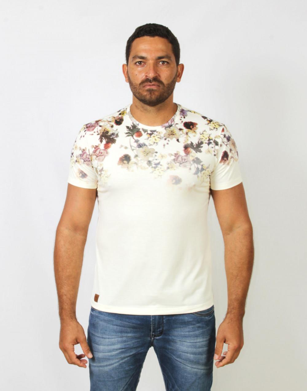 Camiseta Gola O. Estampada Bege Sallo