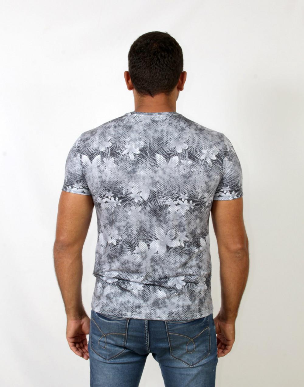 Camiseta Gola O. Estampada Comfort Mescla Sallo